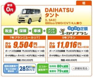 新車 タント 月々1万円以下