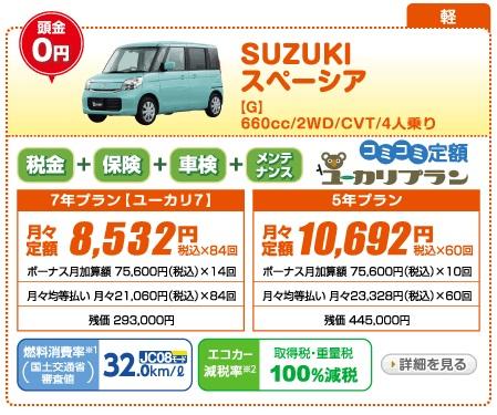 新車 スペーシア 月々1万円以下